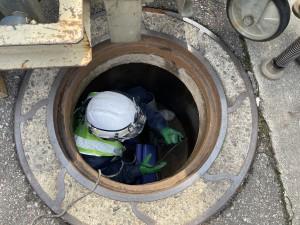 管の中に入る